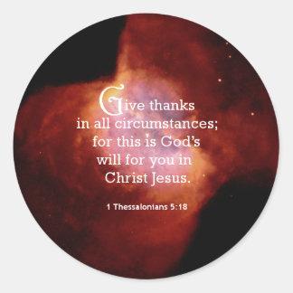 1 Thessalonians 5:18 Classic Round Sticker