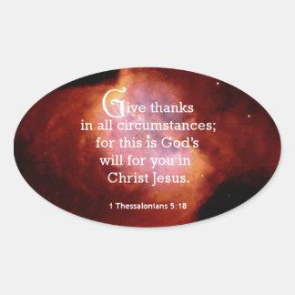 1 Thessalonians 5:18 Oval Sticker