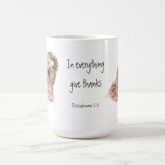 1 Thessalonians 5:18 Scripture, Cute Bird Coffee Mug