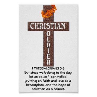 1 THESSALONIANS 5:8 CHRISTIAN SOLDIER FRAMED PRINT