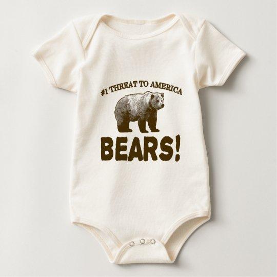 #1 Threat to America: Bears! Baby Bodysuit