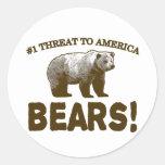 #1 Threat to America: Bears! Round Sticker