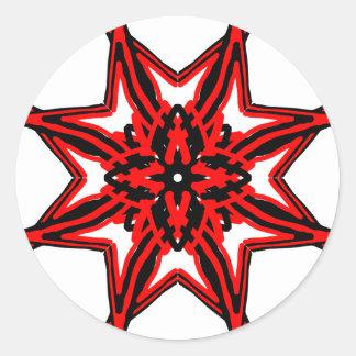 1 transparente rojo pegatina redonda