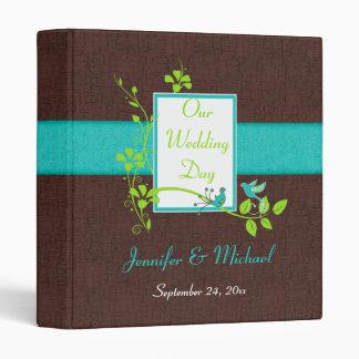 "1"" Turquoise Green Brown Crackle Wedding Binder"