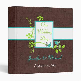 "1"" Turquoise Green Brown Crackle Wedding Binder 2"