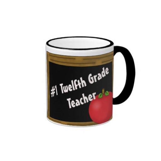 #1 Twelfth Grade Teacher Ringer Mug