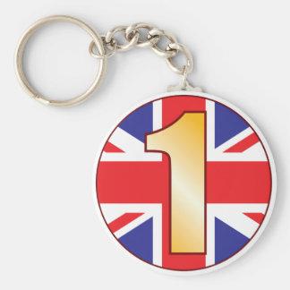 1 UK Gold Basic Round Button Keychain