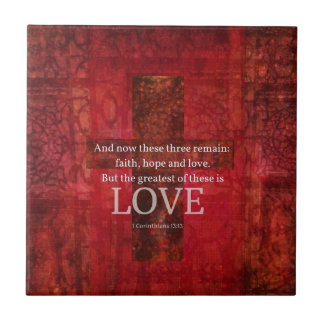 1 VERSO de la BIBLIA del 13 13 de los Corinthians Teja Ceramica