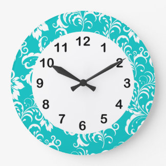 1 Wall Clock Teal Blue White Damask Floral