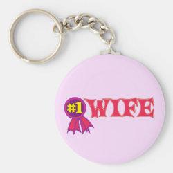 Basic Button Keychain with #1 Wife Award design