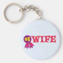 Basic Button Keychain with #1 Wife Award design