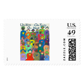 1 World, 1 Family, 1 Heart Postage Stamp
