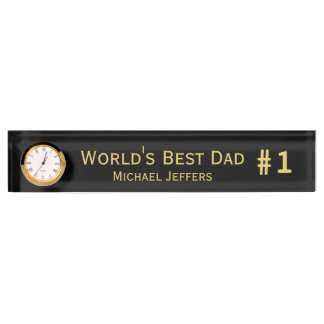 #1 Worlds Best Dad Desk Name Plate with Clock