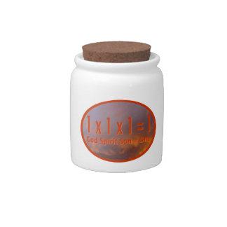 1 x 1 x 1 = 1 / God Spirit Son = One Candy Jar