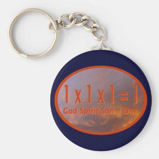 1 x 1 x 1 = 1 / God Spirit Son = One Keychains