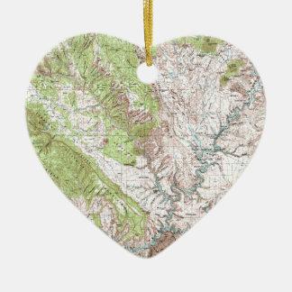 1 x 2 Degree Topographic Map Ceramic Ornament
