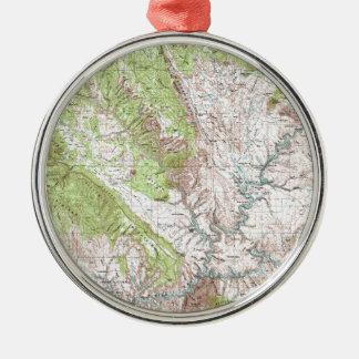 1 x 2 Degree Topographic Map Metal Ornament