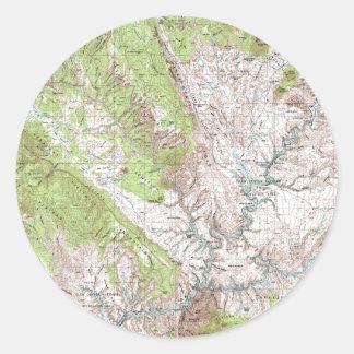 1 x 2 Degree Topographic Map Classic Round Sticker