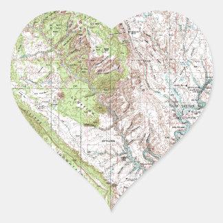 1 x 2 Degree Topographic Map Heart Sticker