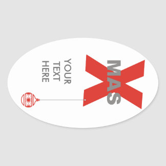 1 Xmas with Christmas Tree Ornament + your text Oval Sticker