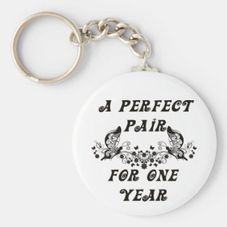 1 Year Anniversary Basic Round Button Keychain