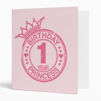 1 year - Birthday Princess - pink 3 Ring Binder