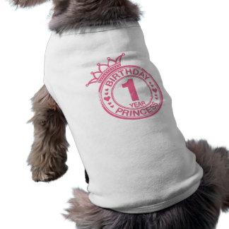 1 year - Birthday Princess - pink Doggie Tshirt
