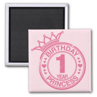 1 year - Birthday Princess - pink Fridge Magnet