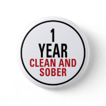 1 Year Clean and Sober Button