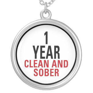 1 Year Clean and Sober Round Pendant Necklace