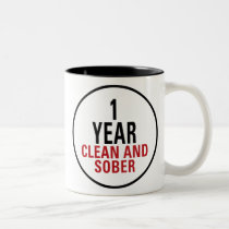 1 Year Clean and Sober Two-Tone Coffee Mug