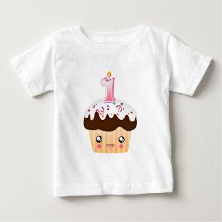 1 Year Cupcake T - Pink Baby T-Shirt