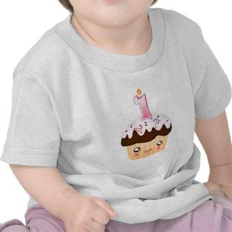 1 Year Cupcake T - Pink shirt