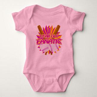 1 Year Old Baseball Fanatic Girls Baby Bodysuit