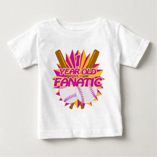 1 Year Old Baseball Fanatic Girls Baby T-Shirt