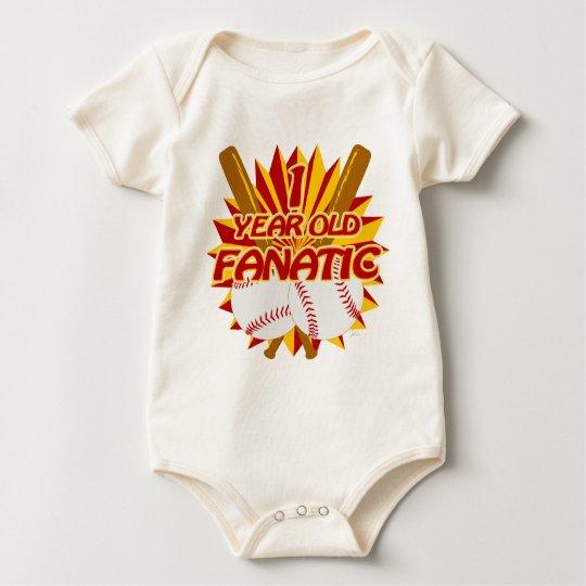 1 Year Old Baseball Fanatic Red Baby Bodysuit