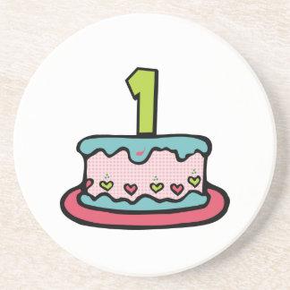 1 Year Old Birthday Cake Drink Coaster
