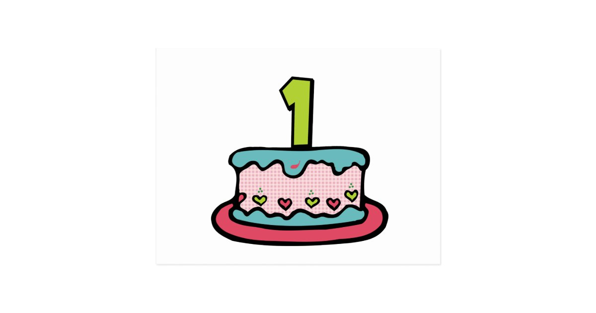 Stupendous 1 Year Old Birthday Cake Postcard Zazzle Com Personalised Birthday Cards Paralily Jamesorg
