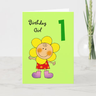 1 Year Old Birthday Girl Card