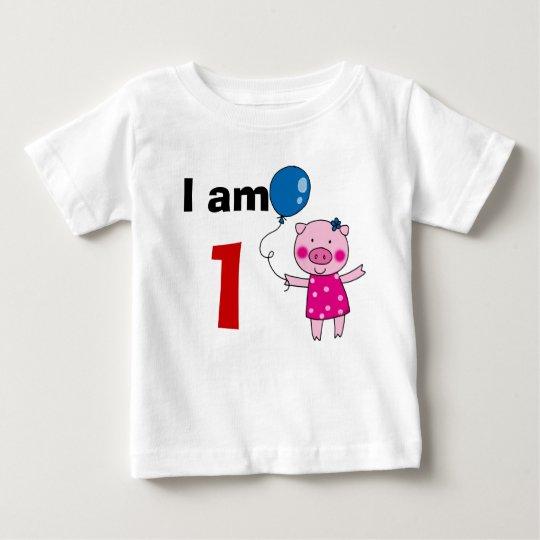 1 year old birthday girl gift (cute pig) baby T-Shirt