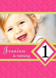 1 Year Old Birthday Party Invitations Zebra GIRL