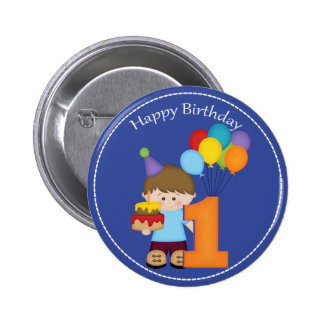 1 year old boys Happy Birthday Button