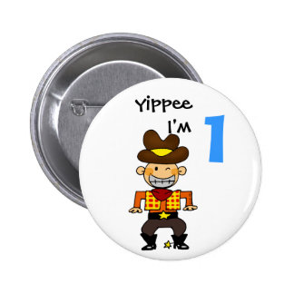 1 year old cowboy pinback button
