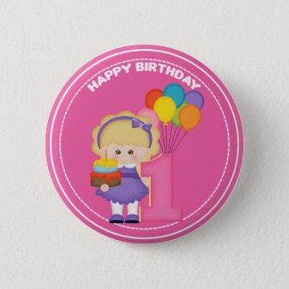 1 year old girl Birthday Button