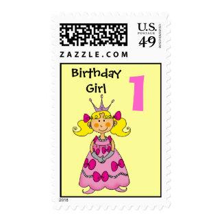 1 year old princess (blonde hair) postage stamp