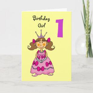1 Year Old Princess Brown Hair Card