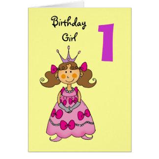 1 year old princess (brown hair) greeting cards