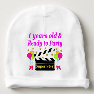 1 YEAR OLD SUPER STAR BIRTHDAY DESIGN BABY BEANIE