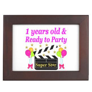 1 YEAR OLD SUPER STAR BIRTHDAY DESIGN KEEPSAKE BOX