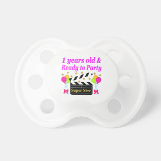 1 YEAR OLD SUPER STAR BIRTHDAY DESIGN PACIFIER